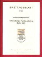 GERMANY-BERLIN 1981, Ersttagblatt Nr. 9, Funkausstellung Berlin - [5] Berlin