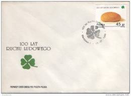 POLAND FDC 1995 100 YEARS POLISH PEOPLE´S MOVEMENT POLITICAL PARTY Communism Socialism Socialists Bread Farming Farmers - FDC