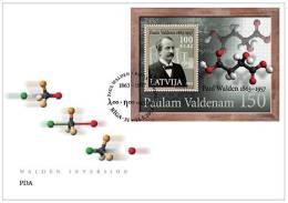 Latvia 2013 Stamp Paul Valdenam 150 - Chemist  S/S  - Fdc - Lettland