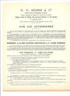 CHAMPAGNE MUMM - AVIS AUX ACTIONNAIRES -EMMISSION D'ACTIONS-SOUSCRIPTION-BILAN AU 31 DECEMBRE 1958 - Agriculture