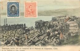 VALPARAISO DESTROYOS HECHO POR UN TEMPORAL EN EL MALECON DE VALPARAISO - Chili