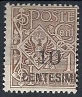 1923-27 REGNO AQUILA SOPRASTAMPATO 10 SU 1 CENT MH * - RR11827-8 - Nuovi