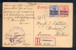 Duitse Bezetting - Postkaart Aangetekend Antwerpen 1 - Ohne Zuordnung