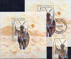 Tracht 1993 Tansania 1692,Block 236 **+ O 8€ Stammes-Tracht Krieger Zulu M/s Africa Military Bloc Art Sheets Bf Tanzanie - Tanzanie (1964-...)
