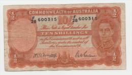 AUSTRALIA 10 SHILLINGS 1942 VF P 25b 25 B - WWII Issues