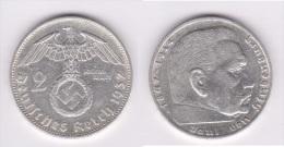 ALEMANIA /GERMANY  III Reich (Nazi)  2 Reichsmark-Plata/Silver  1.937 A MBC/EBC VF/EF  KM#93  DL-10.389 - 2 Reichsmark