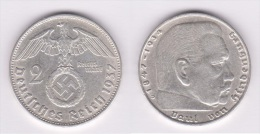 ALEMANIA /GERMANY  III Reich (Nazi)  2 Reichsmark-Plata/Silver  1.937 D EBC/XF  KM#93  DL-10.390 - 2 Reichsmark
