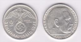 ALEMANIA /GERMANY  III Reich (Nazi)  2 Reichsmark-Plata/Silver  1.938 B  MBC/EBC  VF/XF  KM#93  DL-10.392 - 2 Reichsmark