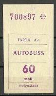 Estland Estonia Estonie 1995  Tartu Dorpat Fahrkarte Ticket Stadtverkehr Bus Ca 1995 Unused - Busse
