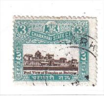 PB104A - STATI INDIANI , CHARKHARI :  3 Rupie Con Decalco Del Centro - Charkhari