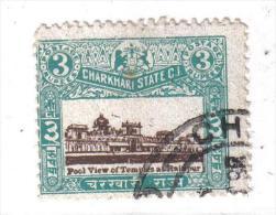 PB104B - STATI INDIANI , CHARKHARI :  3 Rupie Con Decalco Del Centro - Charkhari