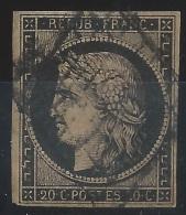II--264- N° 3b.  Obl. GRILLE, NOIR SUR CHAMOIS, Cote 200.00 € , TTB, VOIR LE SCAN - 1849-1850 Ceres