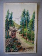 Cartolina/cartoncino Disegnata E Colorata A Mano (sentiero-montagna). Ill.A.Poletti 1933 - Illustrateurs & Photographes