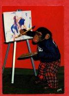 * ANIMAUX-SINGES-ZIPPY Le Chimpanzé-Zippy Fait De La Peinture ( Singe ) - Apen