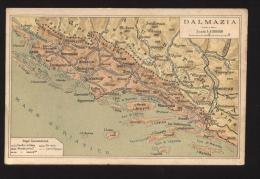 INIZI 900 CARTOLINA GEOGRAFICA: DALMAZIA - SPALATO - ALMISSA - SEBENICO - ZARA - MACARESCA - Cartes Géographiques