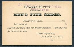 USA Private Postal Stationery Ganzsache Howard Platts & Paine - Holbrook (Mass) Mens Shoes