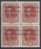 1918 VENEZIA GIULIA USATO 15 H QUARTINA VARIETà - RR11850 - Occupation 1ère Guerre Mondiale
