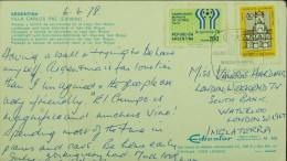 Argentina - Regular Postcard To England 1978 Consonant Soccer FIFA - Coppa Del Mondo