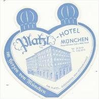 Etiquette De Bagage - PLATZL HOTEL  - MÜNCHEN - MUNICH (ALLEMAGNE) - Etiketten Van Hotels