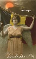 Fin De La Guerre 1914 / 1918 -  VICTOIRE - Femme Ange ( Vue De Face, Robe Orange Claire) Avec Drapeau Belge   (3342) - Guerre 1914-18