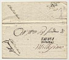 P.R-(314)::PREFILATELICA 1839 DA  SAVONA X  MILLESIMO CON TESTO CARTA INTESTATA NON TASSATA - 1. ...-1850 Prephilately