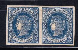 CUBA 1866. ISABEL II. EDIFIL Nº 14.  10 CENT. DE ESCUDO. PAREJA.NUEVO  GOMA ORIGINAL .RARO EN PAREJA .SES 336 - Cuba (1874-1898)