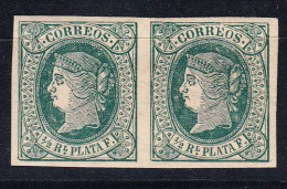 ANTILLAS 1866. ISABEL II. EDIFIL Nº 10.1/2 REAL. PAREJA.RARO EN PAREJA .SES 336 - Cuba (1874-1898)