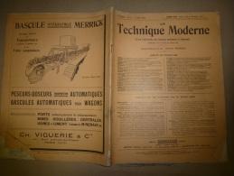 15 Mars 1929  LA TECHNIQUE MODERNE  Et : Pubs Volantes; Les Remorques à 16 Roues Routes Et Rails; La Sphère à Diabétique - Libri, Riviste, Fumetti