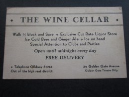 THE WINE CELLAR Golden Gate Avenue  -théâtre Building San Francisco USA United States Of America - Visiting Cards