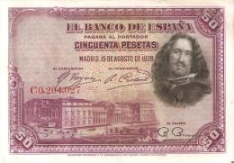 BILLETE DE ESPAÑA DE 50 PTAS DEL AÑO 1928 SERIE C CALIDAD MBC (BANKNOTE) - [ 1] …-1931 : First Banknotes (Banco De España)
