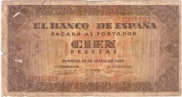 BILLETE DE ESPAÑA DE 100 PTAS 20/05/1938 SERIE G (BANKNOTE) - [ 3] 1936-1975 : Régimen De Franco