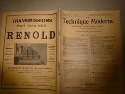 15 Avril 1929  LA TECHNIQUE MODERNE  Et : Chemins De Fer ; Signalisation Sous-marine Et Sondage Acoustique...etc........ - Livres, BD, Revues