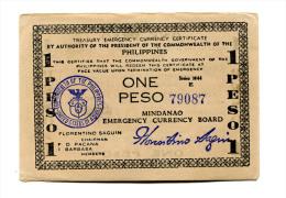 "Philippines """" Treasury Emergency Cupon "" 1 Peso 1944 - Filippine"