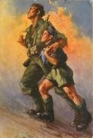 TOCCANTE ILLUSTRAZIONE CON SOLDATO E FIGLIO IN MISSIONE TRA LE BOMBE. BELLA CARTOLINA ANNI '40 - Manovre
