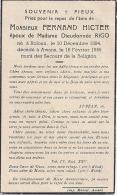 Souv. Mort. Roloux / Awans - Fernand Hicter ép. Rigo  1894 / 1945 - Images Religieuses