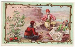 CHROMO Chocolat Guérin-Boutron Grèce Habits Traditionnels Fleur Myrthe Hommes Jeu De Dés Pipe Fumeur - Guérin-Boutron
