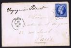 Lettre De Février 1859  De Brest Pour Paris Bleu Ciel Sur Azuré - 1853-1860 Napoléon III