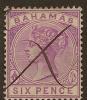 BAHAMAS 1884 6d Maroon QV SG 54 U YQ224 - 1859-1963 Colonie Britannique