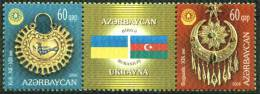 "AZERBAIJAN - AZERBAIDJAN : 18-09-2008 (**) : Set 2v + Label : Early Adornments ""Joint with Ukraine"""