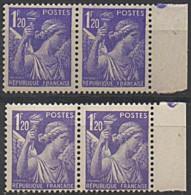 1944 Y&T 651 PAIRE VARIETé CLAIRE AVEC NORMAL N** - Curiosities: 1941-44 Mint/hinged