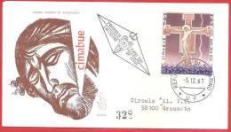 SAN MARINO RSM FDC VENETIA - 1967 -  CIMABUE - RACCOMANDATA ANNULLO AL VERSO GROSSETO - FDC