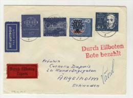 BRD Michel No. 319 , 321 , 327 , 335 gestempelt used auf Brief Eilbote