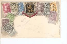 Timbres Sur Timbres ( CP De Belgique De 1905 Vers L'intérieur à Voir) - Stamps On Stamps