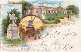 Litho POTSDAM, Schloss Sanssouci, Gelaufen 1898, Verlag J.Goldiner Berlin, Gute Erhaltung - Potsdam