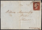 GB 1841-0014, QV 1d Red-Brown Imperf.A-J Letters SG8a (Spec BS13) Letter Sheet With Black MC Cancel (5 Scans) - 1840-1901 (Victoria)