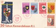 Indonesië - FDC 17-8-1965 - Twintigste Verjaardag Van De Indonesische Onafhankelijkheid - Zonnebloem 489 - 493 - Indonesien