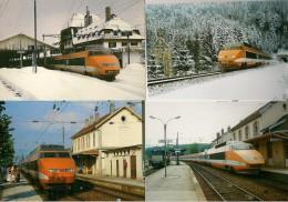 CPM TGV FRANCE-SUISSE : Liaison LAUSANNE à PARIS Lyon Lot De 4 CPM - Détails Sur Le 2éme  Scan - Trains