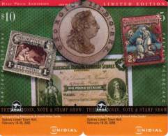 AUSTRALIA PUZZLE OF 2 STAMP COIN MONEY BANKNOTE 2000 ANDA FAIR SYDNEY $5 CARD 500 ONLY!!!! MINT READ DESCRIPTION - Australia