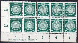 1955,  Fond Central ,ligné Y&T No. 23, En Bloc De 10 TP's Neuf ** , Avec Coin   Lot 39237 - Service