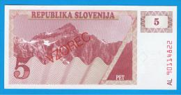 ESLOVENIA - 5 Tolar ND SC P-3S  SPECIMEN - Eslovenia